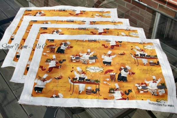 Chef Cooking placemats ready to quilt