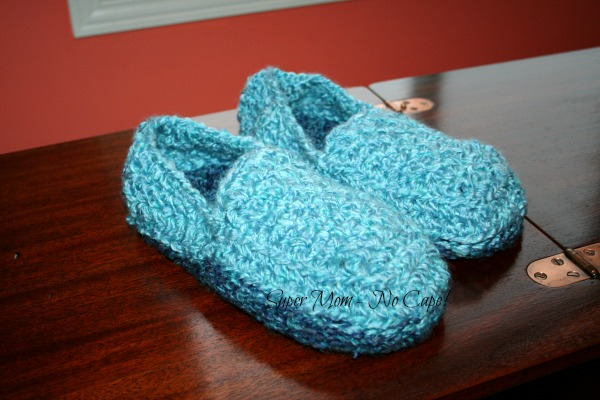 A pair of crocheted mens slippers