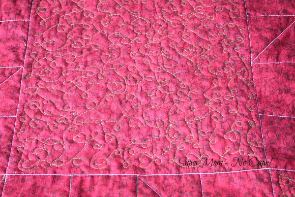 Back of Hearts and Loops free motion quilting