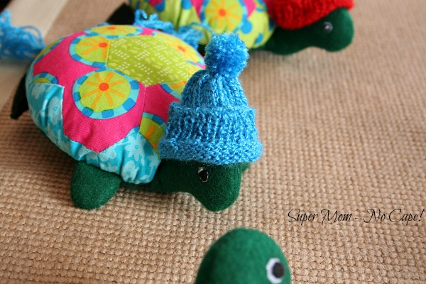 Lexie the Hexie Turtle with cuff of her hat rolled up.