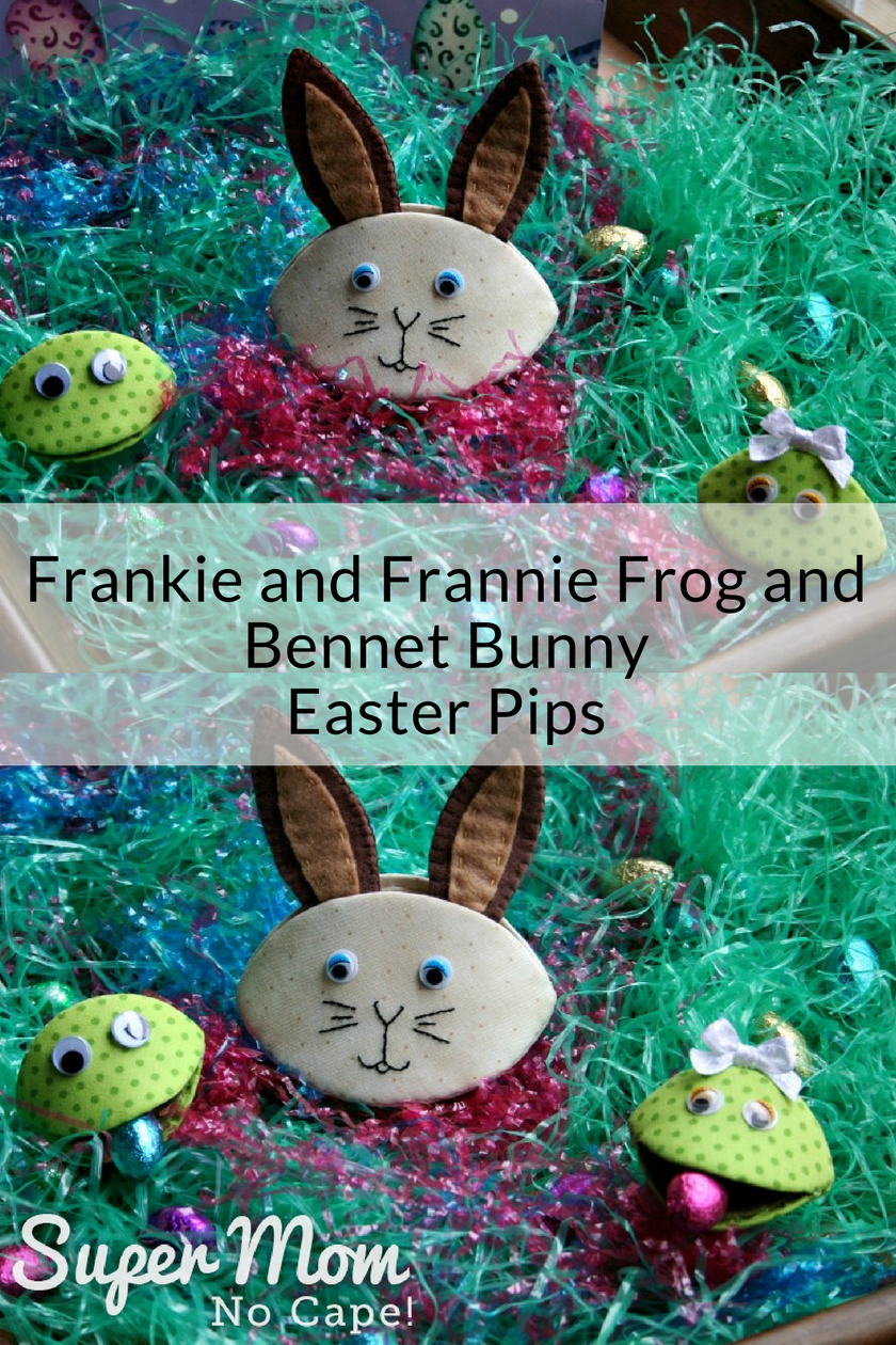 Collage photo of Frankie and Frannie Frog and Bennet Bunny Easter Pips on a bed of Easter Grass