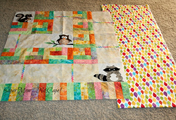 Raccoon, Owl, Squirrel quilt top and backing