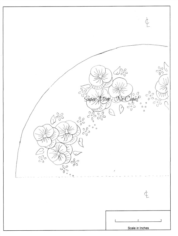 Workbasket Pattern for a Pansy Dresser Scarf - left section