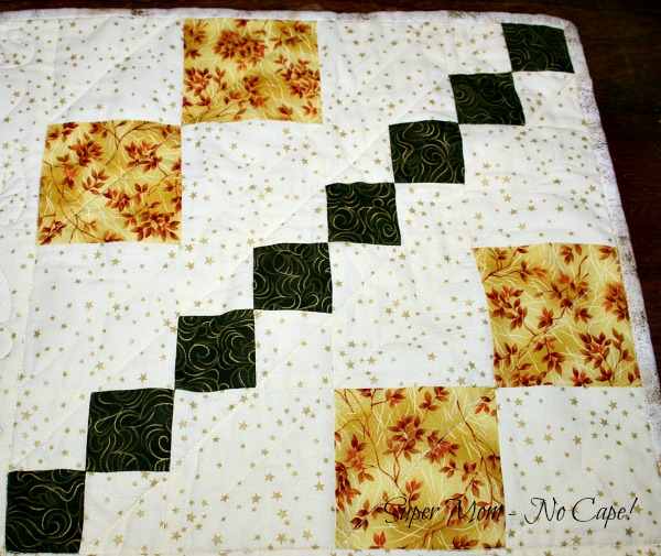 Block quilted with diagonal quliting lines