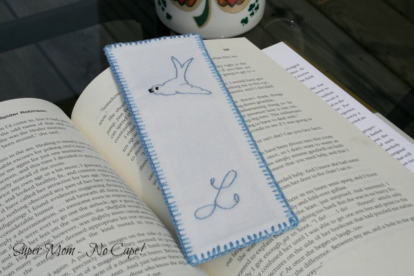 Dad's monogrammed embroidered bookmarkt