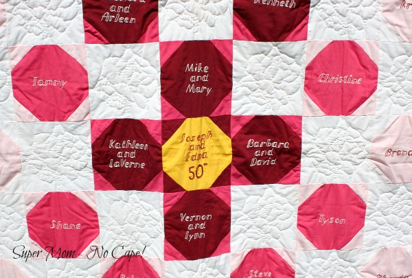 Embroidered blocks on 50th Anniversary Quilt