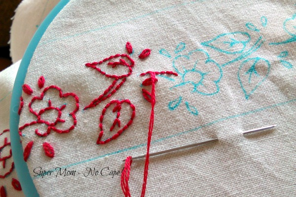 Redwork embroidery for coin purse pincushion