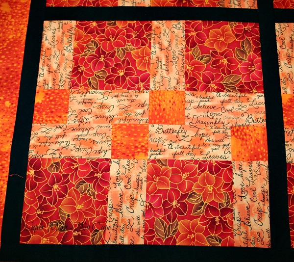 Close-up of one of the blocks in my Disappearing Nine Patch quilt