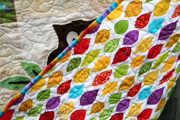 The beautiful leaf backing fabric that I used for my Forest Friends quilt.