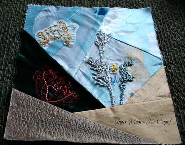 Under the Sea Crazy quilt block in progress