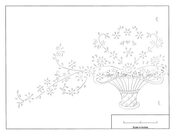 Vintage Workbasket embroidery pattern for a Flower Basket - Left half from page 77