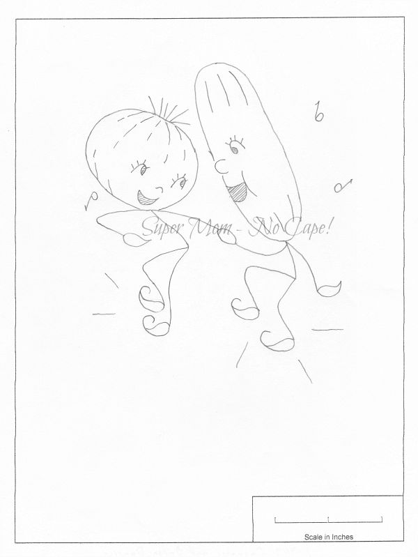 Vintage Workbasket Embroidery Pattern for a cucumber and onion dancing