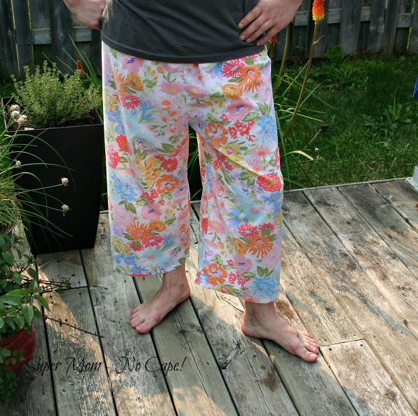 PJ pants made from thrifted vintage sheets