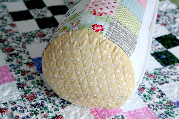 Cross hatch quilting on the end of the bolster cover