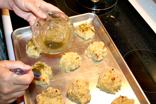 Brush tops of biscuits with garlic butter mixture