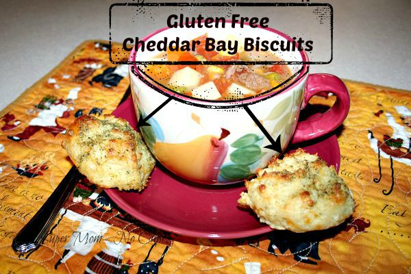 Gluten Free Cheddar Bay biscuits served with soup or stew