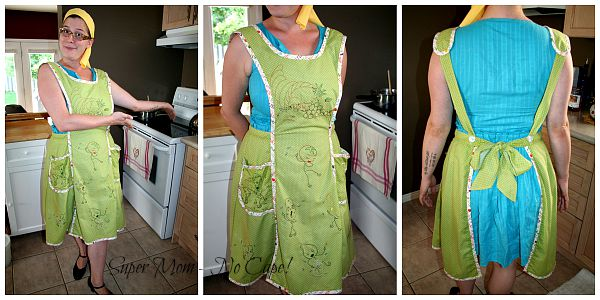 Collage of middle daughter modeling apron