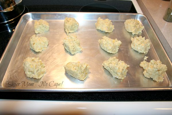 Spoon biscuit batter onto lightly greased baking sheet