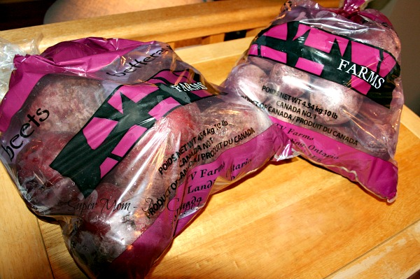 Two 10 lb bags of beets