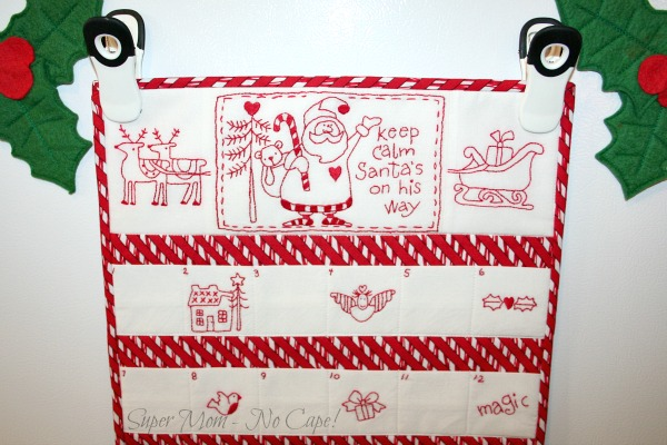Top half of embroided Advent Calendar