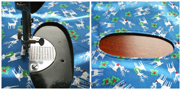 37. Photo collage of topstitching the opening