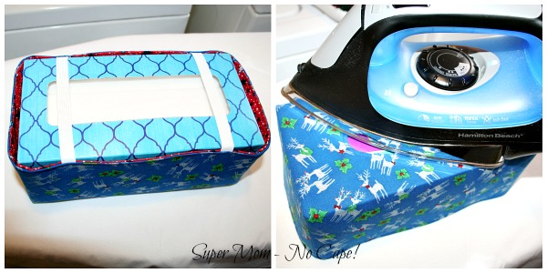 48. Photo collage of pressing the tissue box cover with tissue box inside.