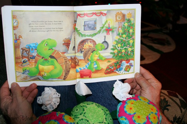 Close-up of the Hexie Turtles being read to