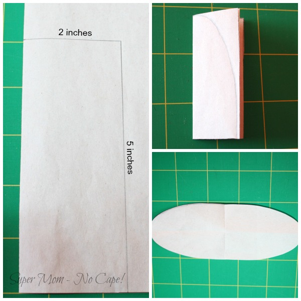 Create the oval for the center of the tissue box cover