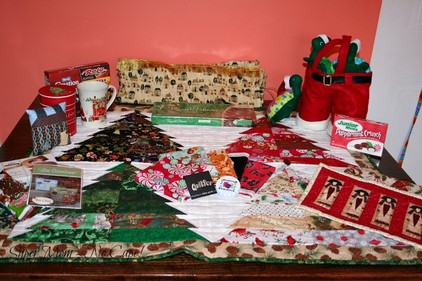 Photo of all the gifts from Debbie laid out on the table