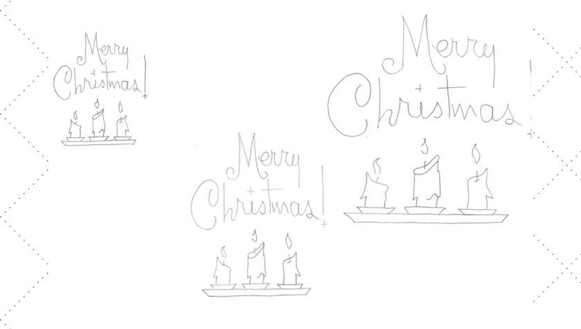 Merry Christmas Candles Embroidery Pattern