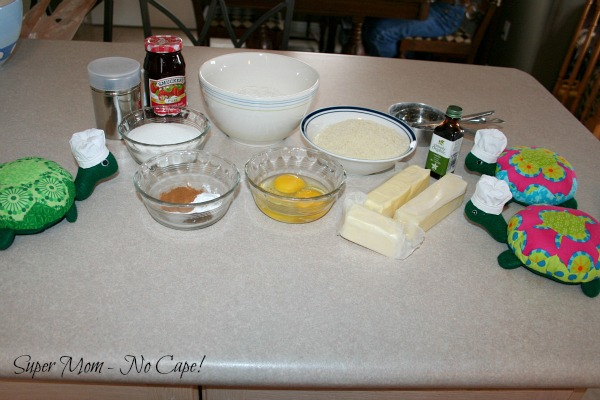 Ingredients for Linzer cookies all measured out