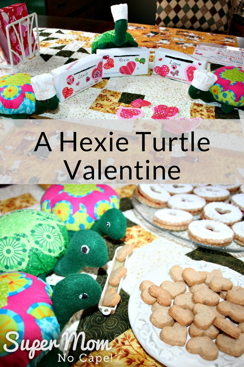 Collage photo - top photo of the Hexie Turtles with their decorates Valentine's boxes and bottom photo of them dunking their Snow Storm Linzer Cookies in a white trough of tea