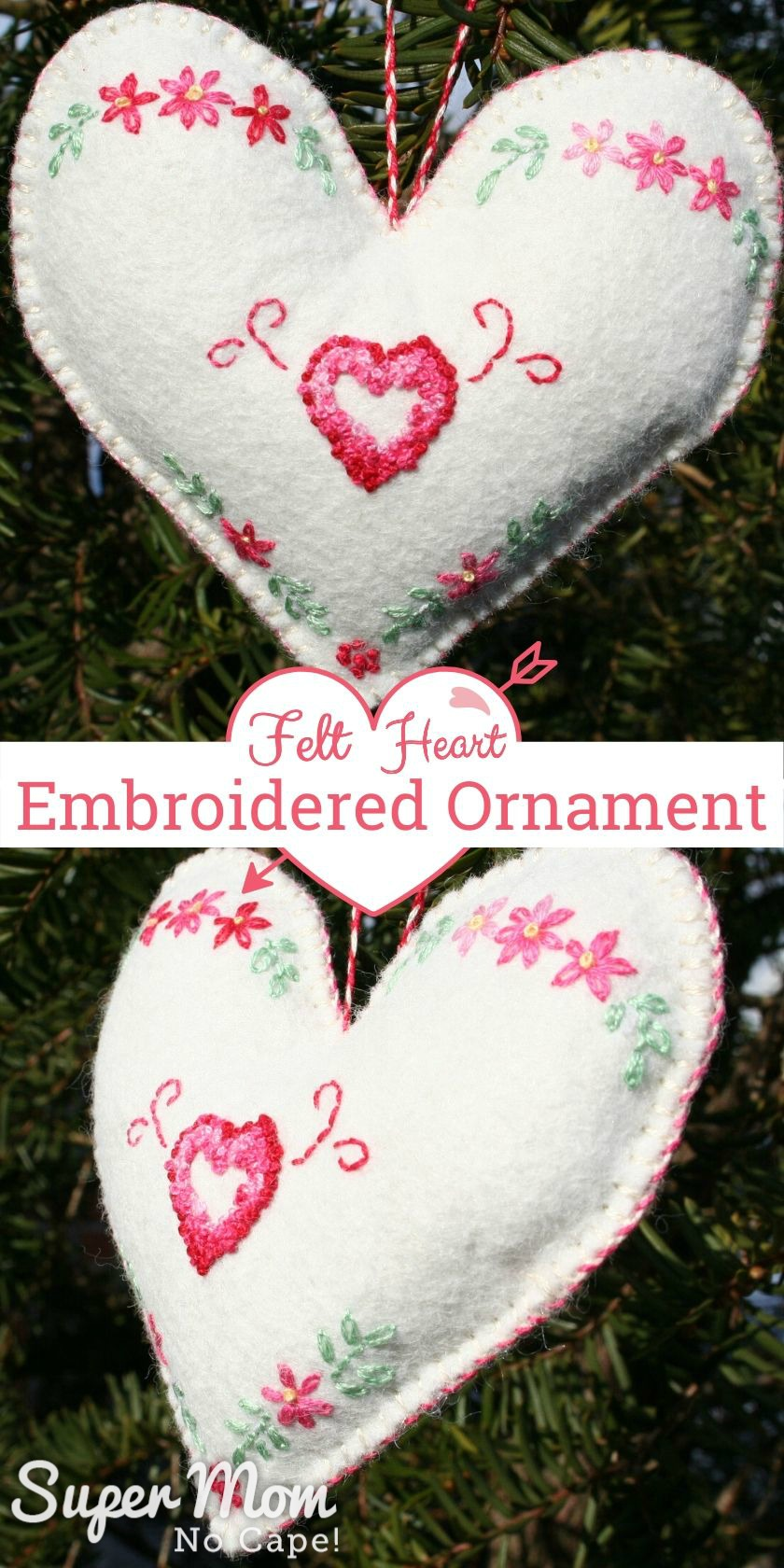 collage photo of the Felt Heart Embroidered Ornament