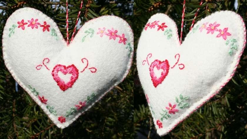 Felt Heart Embroidered Ornament