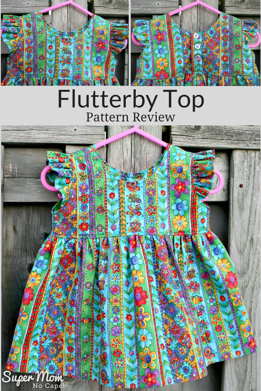 Flutterby Top by Maybe She Made It - Pattern Review by Super Mom - No Cape!