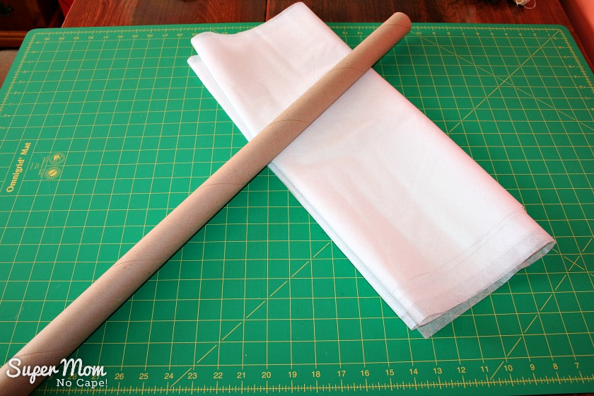 1. Interfacing yardage and empty wrapping paper tube