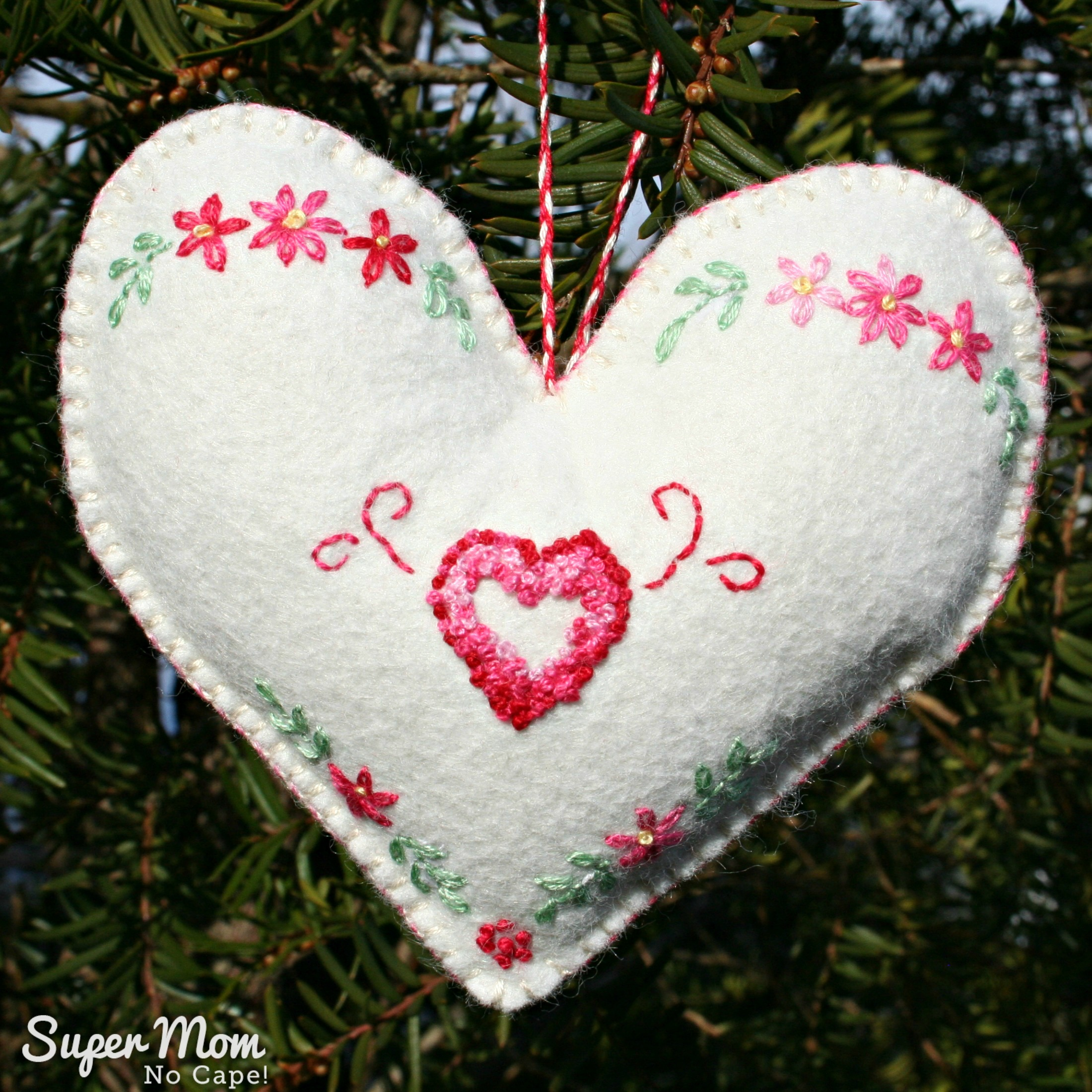 Heart Within a Heart Embroidered Ornament