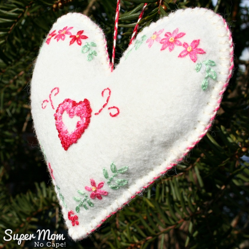 Heart Withing a Heart showing whipstitched edge