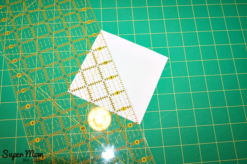 Maple Leaf Blocks - Step 6 Cut square on the diagonal forming two triangle