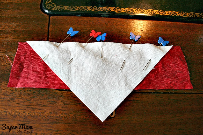 Maple Leaf Blocks - Step 6A Center the triangle on the rectangle