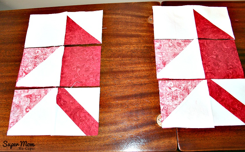 Maple Leaf Blocks - Step 7C flip the row on the left onto the middle row and sew