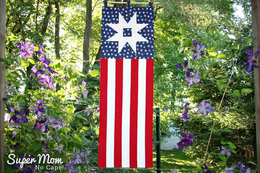 Patriotic Garden Path Banner Hanging in the Backyard