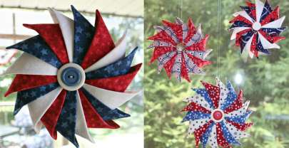 Trio of Patriotic Prairie Point Star Ornament