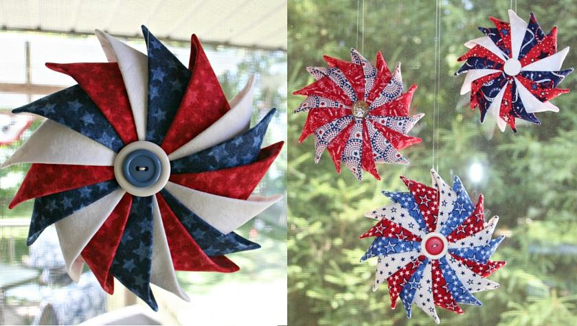 Patriotic Prairie Point Star Ornaments