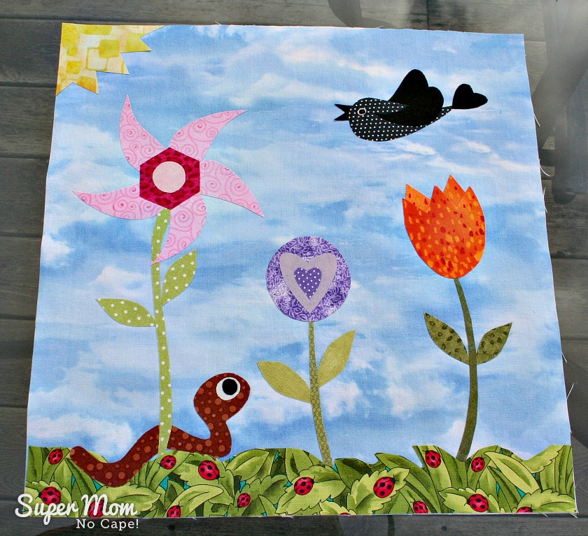 Scrap Drawer Version of the Applique Block - Block 4 for the In Our Garden BOM