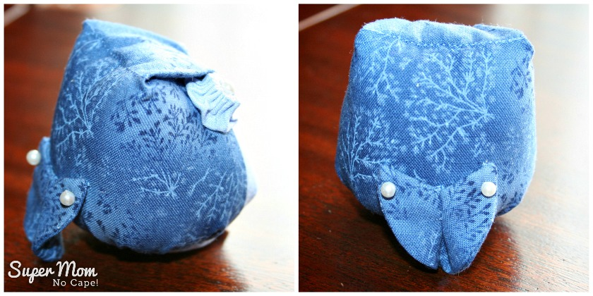 Side and Back view of blue Archimedes Pincushion