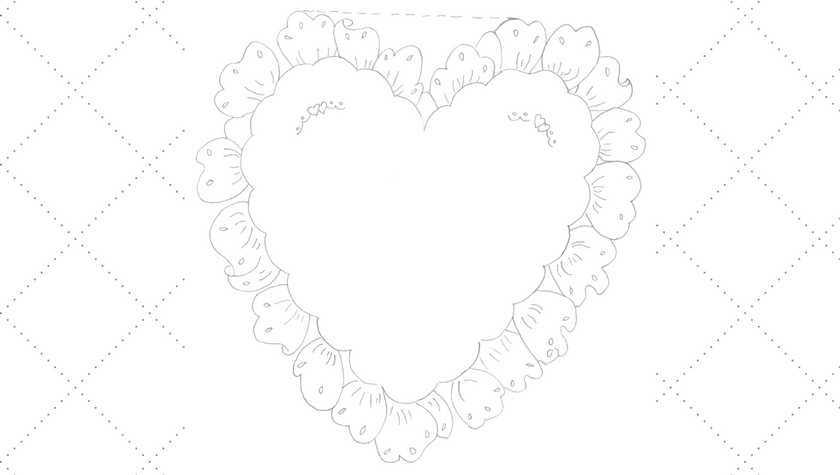 Ruffled Heart Pillow Embroidery Pattern