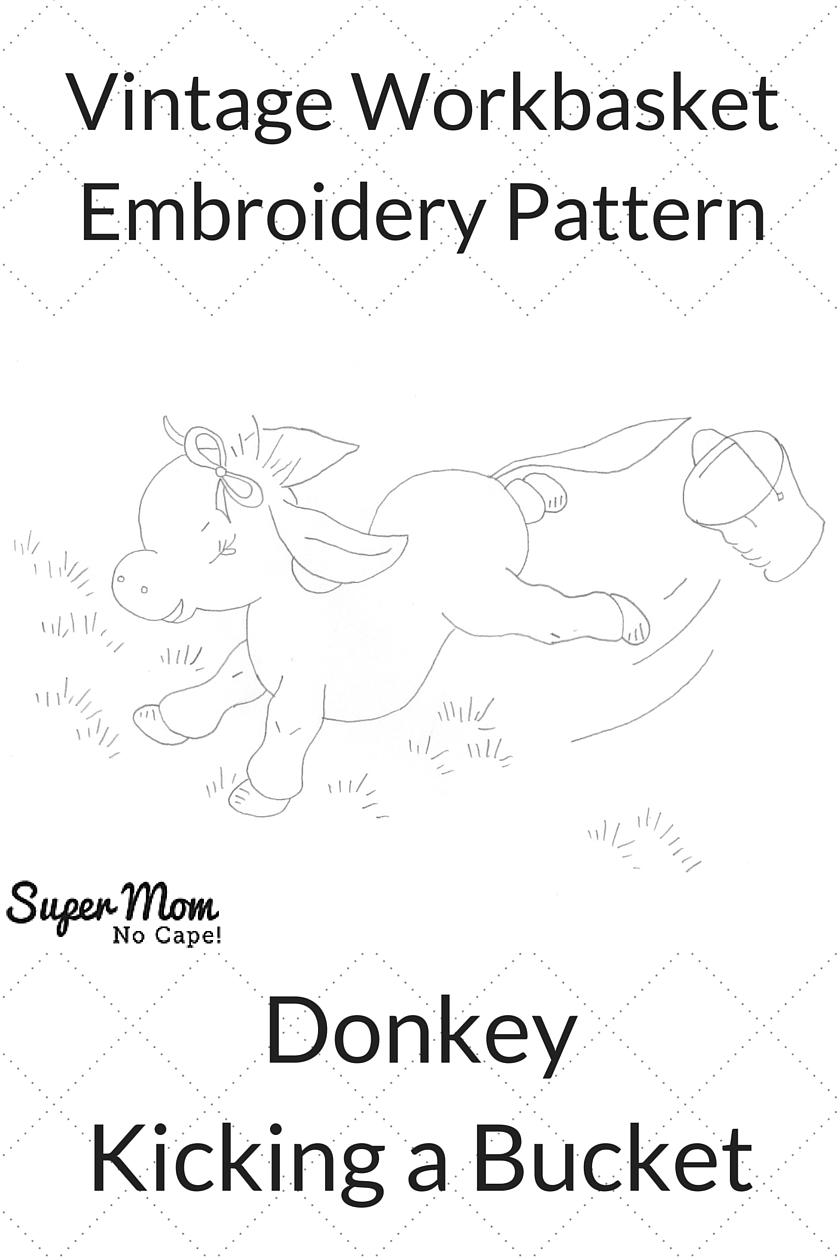 Vintage Workbasket Embroidery Pattern - Donkey Kicking a Bucket