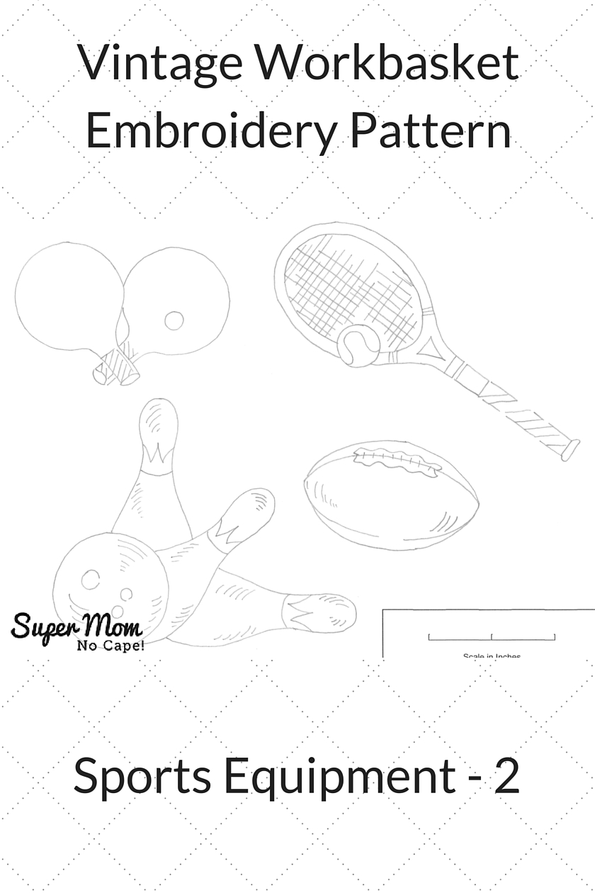 Vintage Workbasket Embroidery Pattern - Sports Equipment 2