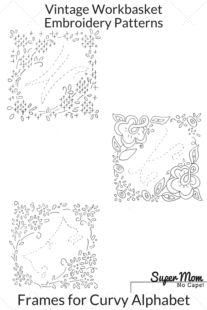 Vintage Workbasket Embroidery Patterns - Frames for Curvy Alphabet